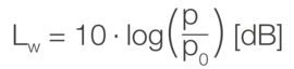 Formel zum Berechnen der Schallleistungspegel
