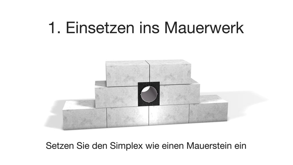 Montagesystem Simplex - Lüftungsmntage: Einsetzen in das Mauerwerk