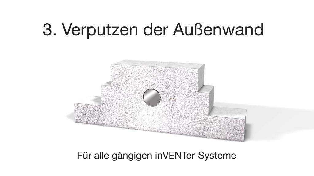 Montagesystem Simplex - Lüftungsmntage: Verputzen der Außenwand