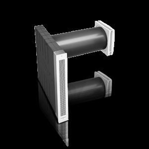 Einzelraumlüfter iV-Twin+ mit Corner Abschluss Außenansicht